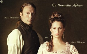 "Kino filmo ""The Royal Affair"" plakato fragmentas"